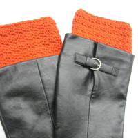 Crochet Boot Cuff in Rust, Textured Look Crocheted Boot Cuffs