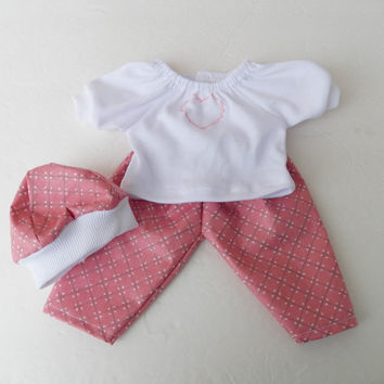 """Bitty Baby Clothes handmade for the 15"""" Girl or baby doll Heart valentines day 3 pc outfit pink white heart peasant knit t shirt, hat, pants"""
