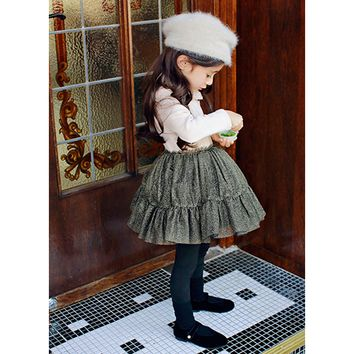 Ophelia Fleece Lined Metallic Tutu Dress - Pink & Gold