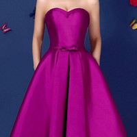 Purple Sweetheart Bowknot Waist Lacing Back Strapless Prom Skater Dress