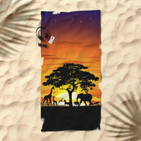 Wild Animals on African Savanna Sunset Beach Towel by bluedarkatlem