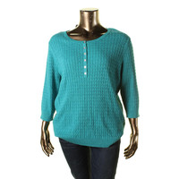 Karen Scott Womens Plus Cable Knit Marled Henley Sweater