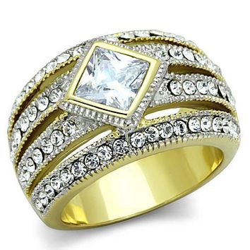 WildKlass Stainless Steel Ring Two-Tone IP Gold (Ion Plating) Women Diamond AAA Grade CZ Clear