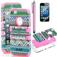 iPhone 5 Case, Pandamimi ULAK 3-Piece Hybrid High Impact Case Tribal Green/Pink Silicone for iphone 5 5G + Screen Protector + Stylus