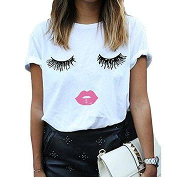 Eye Lashes and Lipstick Women Summer Funny Print Short Sleeve Top Tee Graphic Cute T-Shirt White Medium