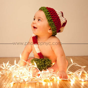 Baby Santa Hat crochet Infant Toddler Kids Custom Striped