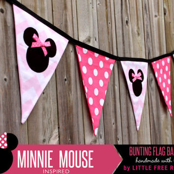 Minnie Mouse with Bows Polka Dot & Chevron Fabric Pennant Bunting Banner   - great for party decor, nursery, playroom, photo prop