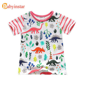Babyinstar New Arrival 2017 Girl's Top Tee Outfits Dinosaur Pattern Children's Summer t shirt Leisure Kid's Cotton t-shirts