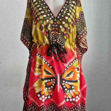 Thai Hippie hobo poncho Kaftan Tunic Dress African Butterfly Vintage Beach Sundress Free Size