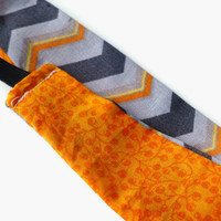 Orange Fabric Headband - Orange Headband - Reversible Headband - Gray Chevron Print Headband - Women's Headband - Gray Fabric Headband