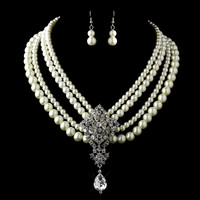 Antique Silver Ivory Pearl & Rhinestone Necklace & Earrings Jewelry Set