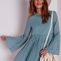 Missguided - Long Sleeve Pleated Swing Dress Powder Blue