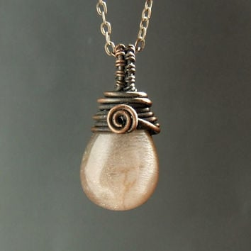 Fertility necklace, moonstone necklace, peach moonstone jewelry, gemstone jewelry, rustic copper necklace