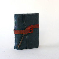 Blue Leather Journal by Binding Bee with Antique Skeleton Key