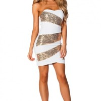 Alexis White and Gold Sequin Strapless Cocktail Party Dress