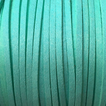 Mint Green Faux Suede Cord -  3mm flat - 3, 5, 10 yards/meters - microfiber leather bracelet necklace jewelry making supply