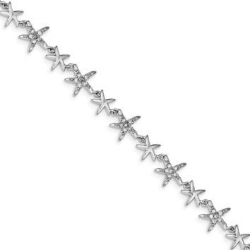 925 Sterling Silver Rhodium 7.25inch Alternating Polished and Cubic Zirconia Starfish Bracelet