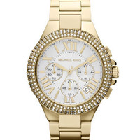 Michael Kors  Mid-Size Golden Stainless Steel Camille Chronograph Glitz Watch - Michael Kors