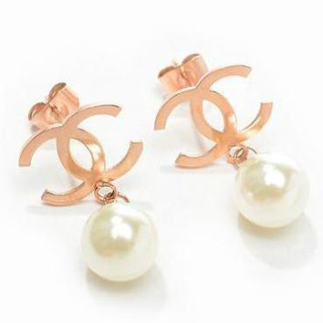 Chanel Woman Fashion Logo Pearls Stud Earring For Best Gift