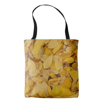 Golden Leaves Floral Tote Bag
