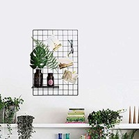 "Wire Grid Panel, Multifunction Photo Wall Decor Dispaly Vinyl Dipped Organizer for Home Decor Dorm Decoration 25.6"" x 17.7"" Pack of 2 Black (Black)"