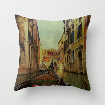 Venice, Italy Canal Gondola View Throw Pillow by Theresa Campbell D'August Art