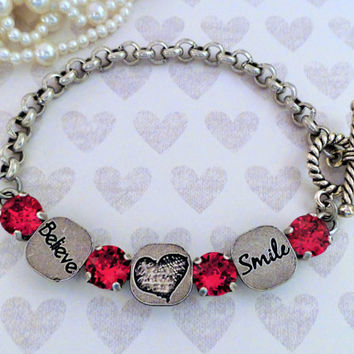 Believe,Love,and Smile, Swarovski Crystal Bracelet, Red,8MM,Chain,Toggle, Gift,Valentines Gift,Ant Silver,DKSJewelrydesigns,FREE SHIPPING
