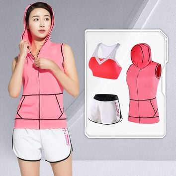 LEFAN 3pcs Sport Suits Girls Elastic Gym Running Sets Women Fitness Yoga Clothes Jogging Sportwear Sets Bra + Shorts + Waistcoat