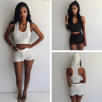 2016 Two Piece Set Women  Suits 2 Piece Bandage Rompers Womens Jumpsuits Hooded Crop Top Shorts Striped Bodysuits Tracksuit