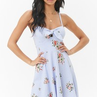 Floral Tie-Front Fit & Flare Mini Dress