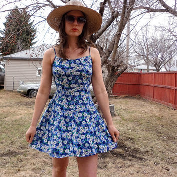 Daisy Soft Grunge Mini Dress - 90s Clueless Singles Flower Baby Doll  Dress - Vintage Floral Strap Summer Sundress