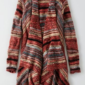 AEO Women's Space Dyed Open Cardigan (Multi)