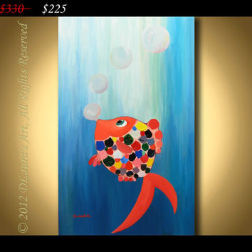 "ORIGINAL Large Abstract Contemporary Fine Art Multicolor Thick Texture Fish on Acvatic Blue Painting ""Heading for the Light"" on 20x32 Canvas"