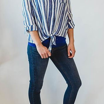 Striped knot bottom button up - Blue
