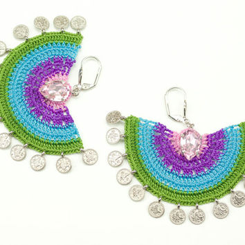 Rainbow Crochet Lace Earrings - Dangle - Rhinestone - Statement Jewelry - Semicircle - Tughra Coin Charms - Pink Purple Blue Green