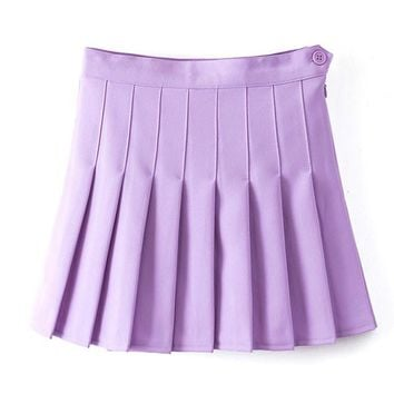 High Waist Pleated Mini Skirt
