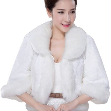 In Stock Wedding Accessory Faux Fur Black White Custom Made Bridal Coat Wedding Bolero Stoles Jacket Shrug Wraps LF51
