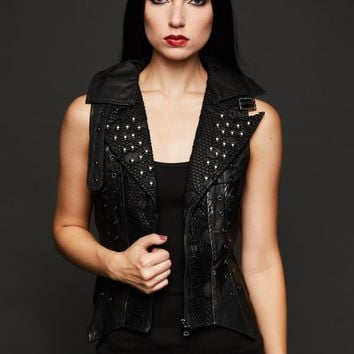 Studded Punk Black Faux Leather Vest