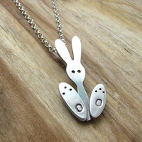 Sterling Silver Bunny Rabbit Necklace - Bunny Big Feet