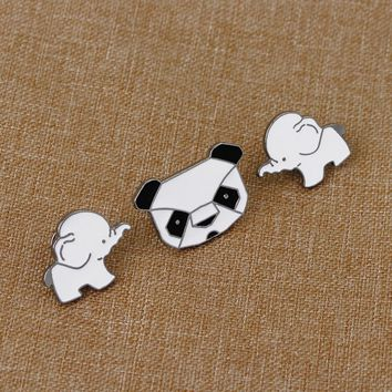 1 pcs cartoon panda elephant metal badge brooch button pins denim jacket pin jewelry decoration badge for clothes lapel pins