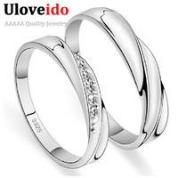 Uloveido Trendy 4mm Platinum Plated Wedding Bridal Sets For Lovers Wedding Ring