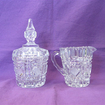 ON SALE was 24.99 Vintage Cut Glass Sugar Bowl and Creamer