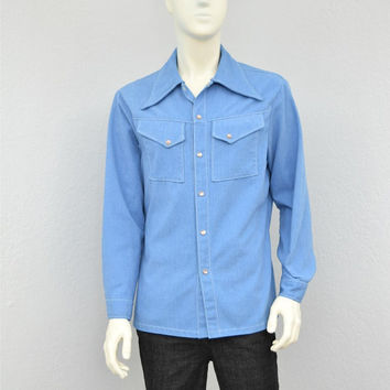 Vintage 70s Light Blue  Western Shirt Jacket, Mens Retro Shirt, Big Collar, Butterfly Collar, Size L