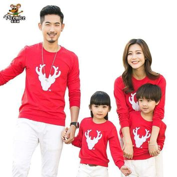Family Christmas Deer Print warm Pullover Sweater
