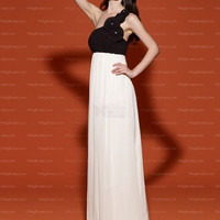 A-line One Shoulder White Hand-Made Flower Chiffon Floor-length Prom Dress at Millybridal.com