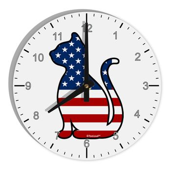 "Patriotic Cat Design 8"" Round Wall Clock with Numbers by TooLoud"
