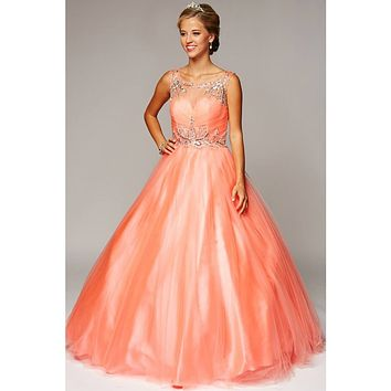 Juliet 647 Coral Quinceanera Dress Embellished Bodice Cut Out Back
