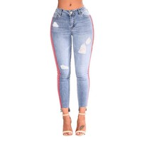 Low Waist Step-Hem Ankle Detail Skinny Ripped Jeans