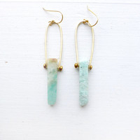 Amazonite Stone Chakra Earrings
