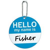Fisher Hello My Name Is Round ID Card Luggage Tag